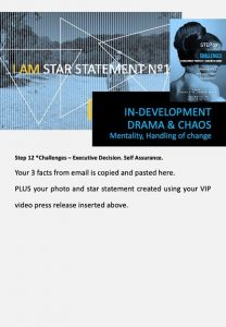 stars and heroes, profiling of character, vip report, step 12