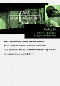 stars and heroes, profiling of character, vip report, step 4